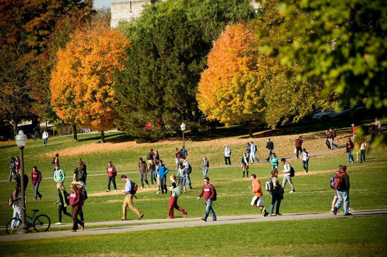 Students crossing the Drillfield